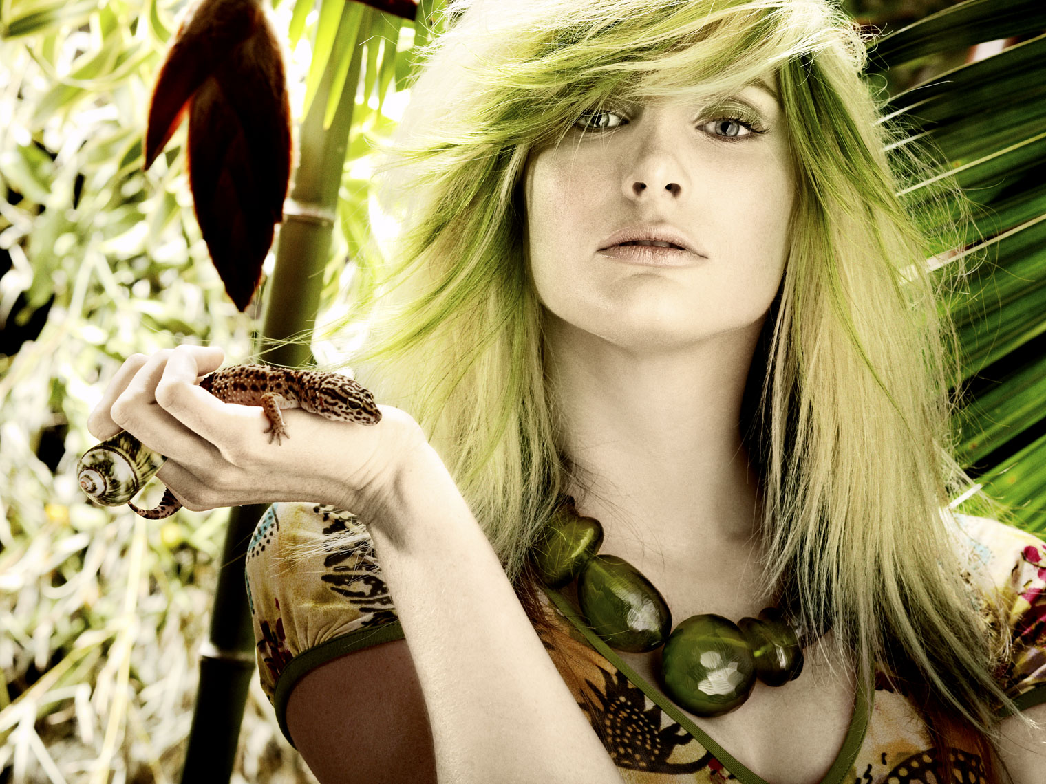 Model with Green hair and lizard Dallas people photography