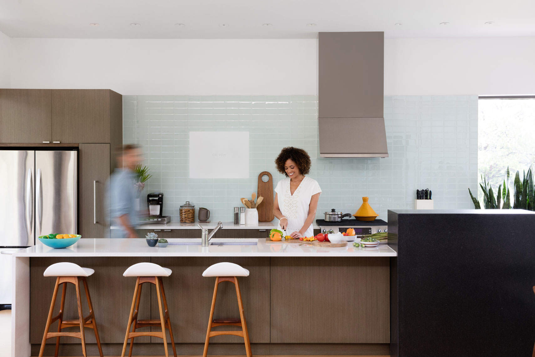 Husband and Wife in Kitchen with Orison, Dallas product photography